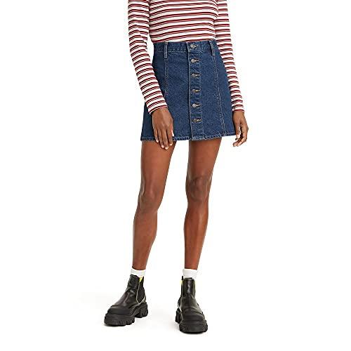 Levi's Women's A-Line Button Front Mini Skirt, Something Slight, 27