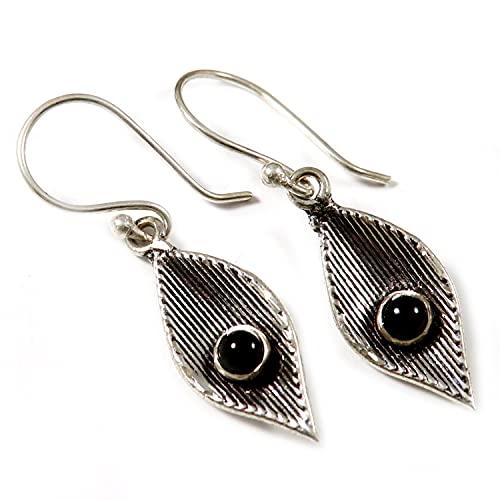 Goyal Crafts Negro Onyx plateado plata Natural piedra pendiente joyería GGTER11A