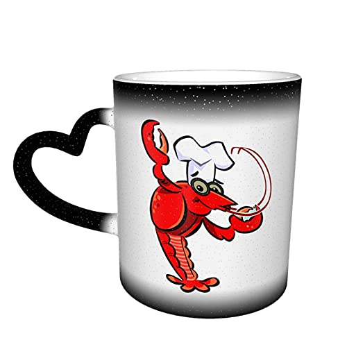 Oaieltj Taza cambiante de calor, Chef de cangrejos personalizada, taza de café sensible al calor, taza de té de leche taza de café mágica tazas de corte