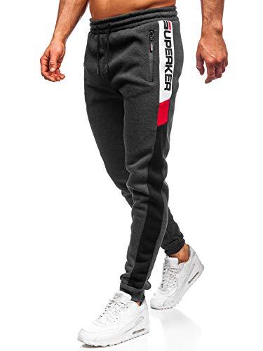 BOLF Herren Sporthose Trainingshose Jogginghose Fitnesshose Freizeithose Joggerhose Sport Style Must JX8962 Dunkelgrau L [6F6]