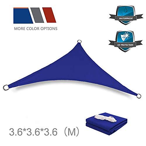 PYXZQW Sun Sail Shade, Triángulo Exterior Toldo Cubierta Anti-UV Impermeable Al Aire Libre Sombra De Poliéster De Protección Solar De La Vela por Jardín Piscina Patio Sombreado,Azul,3.6x3.6x3.6m
