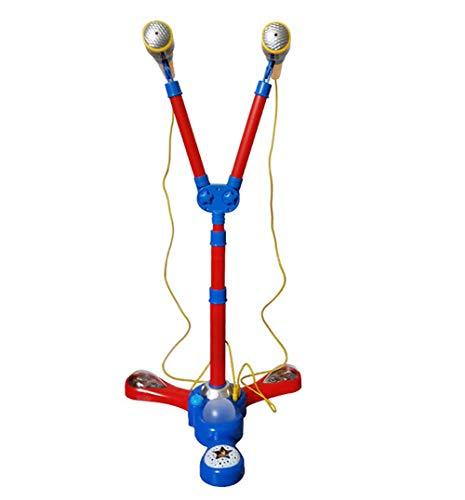 YX kindermicrofoon draagbaar blauw kinderkaraoke-machine met 2 microfonen/verstelbare standaard (68-104 cm) verjaardag kleine kinderen jongens 3-6 jaar oud