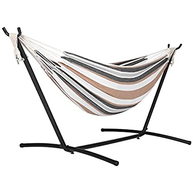 Finether Double Hammock|Two Person Hammock Chair with Steel Stand and Bag for Free,Space Saving,Portable,331 lbs/150 kg Capacity,Desert Stripe