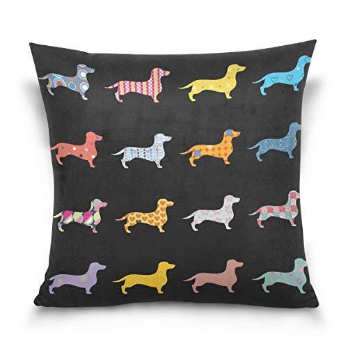 Überwurf Kissen Fall dekorative Kissenhülle Kissenbezug,, Cartoon Funny Puppy Hund Dackel Sofa Bett Kissen Schutzhülle (45,7x 45,7cm) Twin Seiten