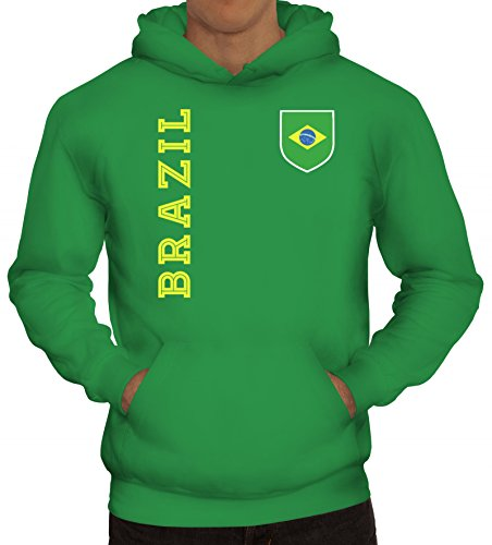 Brasil Brasilien Fußball WM Fanshirt Gruppen Herren Hoodie Männer Kapuzenpullover Fan Trikot Brazil, Größe: L,Kelly Green