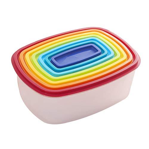 Yiwa 7-delige set koelkasten, groentelade, transparant, verzegeld, kunststof, rechthoekig, regenboog, kleurrijk