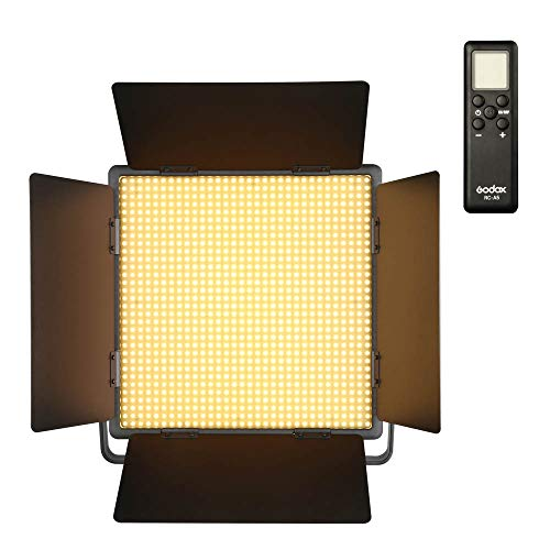Godox 1000W LED Video Light, 5600K 70W Panel LED LED Light con reflectores y Control Remoto para Tomas en Interiores y Exteriores (versión con luz Blanca)