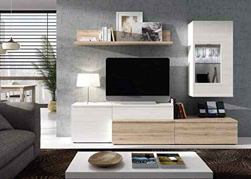 Wohnwand Neo 5 Weiß Eiche - Wandboard mit Paneele und Hängevitrine mit Glasfenster