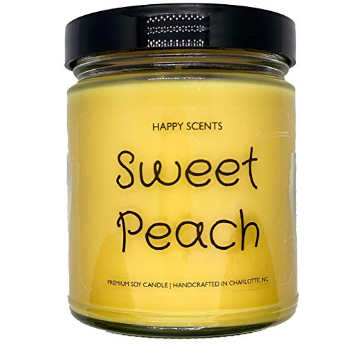 Sweet Peach Jar Candle | Highly Scented & Long Lasting Soy Wax Candle for Home | 8oz Clear Glass Jar, 50+ Hour Burn Time, | Made in the USA | Happy Scents