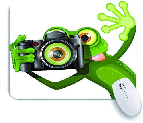 DAHALLAR Gaming Mouse Pad Rutschfeste Gummibasis,Fotograf Merry Green Frog, der mit seiner Kamera niedlich lustig kunstvoll nimmt,für Computer Laptop Office Desk,240 x 200mm