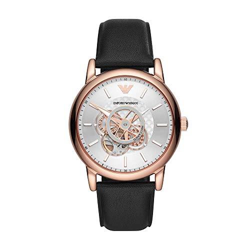Emporio Armani AR60013 Meccanico Uhr Herrenuhr Leder-Armband vergoldet schwarz