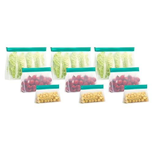 Bolsas de almacenamiento de alimentos reutilizables - Paquete de 9 bolsas de congelador de pie sin BPA Bolsas de alimentos a prueba de fugas para marinar Bolsas congelador Bolsa almuerzo resellable