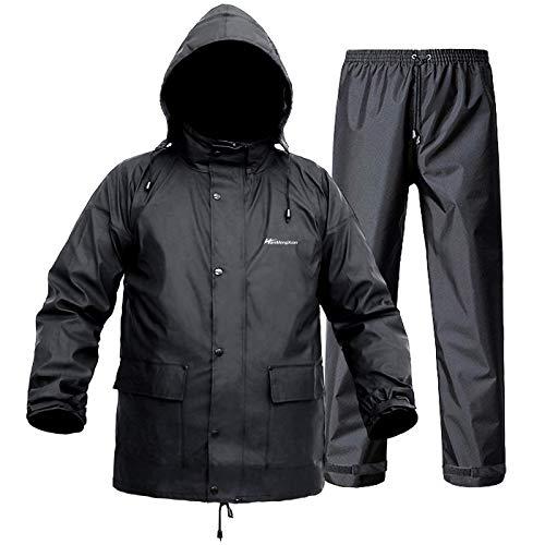 Regenanzug für Herren und Damen, leicht, wasserdicht, Regenmantel (Jacke + Hose), Sets mit winddichter Kapuze, Arbeitskleidung, Schwarz , M
