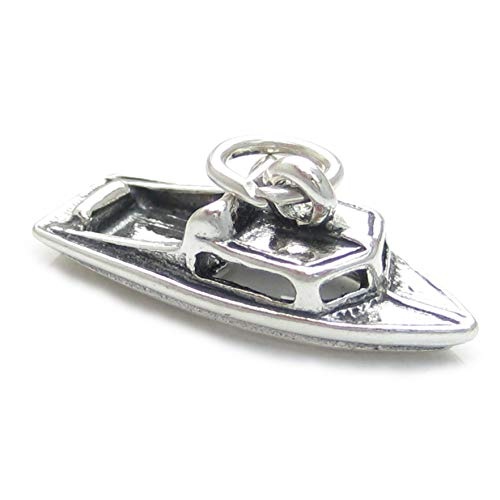 Motorboot Sterlingsilber Charm .925 x 1 Schnellboot Motor Boot Boote Anhänger CF142