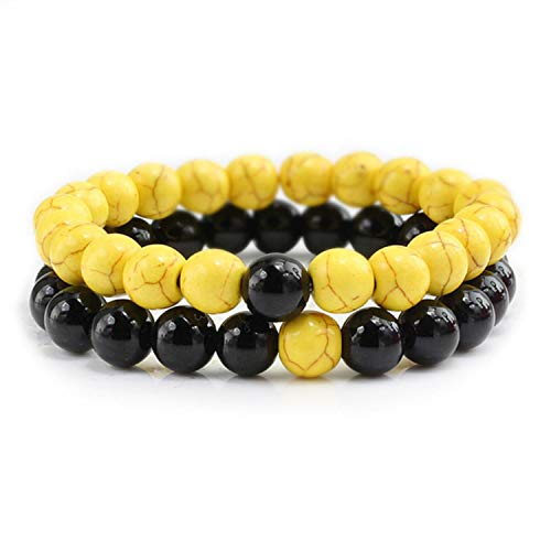 2Pcs/Set Couples Beaded Bracelets Distance Bracelet Classic Natural Stone White and Black Natural Beaded Accessories