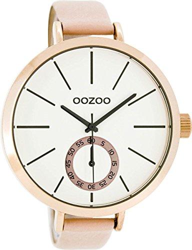 Große Oozoo XXL Damenuhr mit Lederband 48 MM Rose/Weiss/Pinkgrau C8316