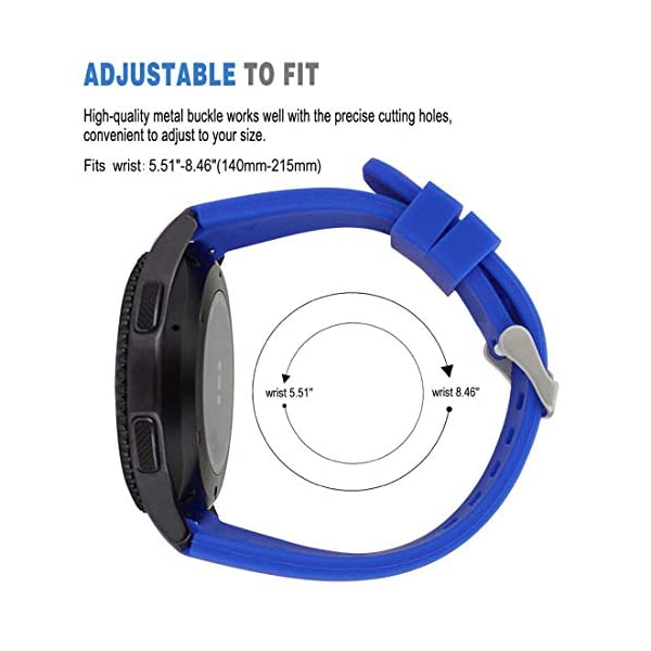 MroTech 22mm Correa Silicona Compatible para Samsung Gear S3 Frontier/Classic/Galaxy Watch 46mm Pulsera Repuesto para… 3