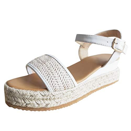 Kolylong® Frau Wildleder Klumpig Plattform Keile Sandalen Plateau Keilabsatz Knöchelschnalle Gurt Espadrille Schuhe Sommer Mode rutschfest Pumps