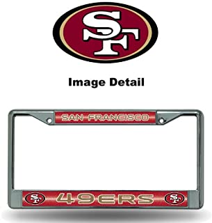 NFL San Francisco 49ers Bling Chrome License Plate Frame with Glitter Accent