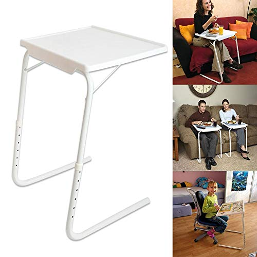 Portable Table Folding TV Tray Table Six levels of Height Adjustable 3 Angle Adjustments Folding Sofa Side Desk Snack Laptop TV painting Tray