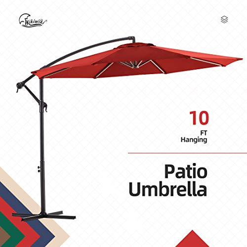 wikiwiki Offset Umbrella 10ft Cantilever Patio Umbrella Hanging Market Umbrella Outdoor Umbrellas with Crank & Cross Base(Brick Red)