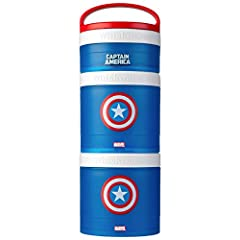 Stackable, interlocking containers for snacking on the go, featuring officially licensed Marvel Captain America icon Includes three containers, measuring 1/3 cup, 1 cup, and 1 cup Twist 'n' Lock system connects containers for easy portability Removab...