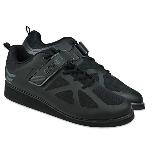 """Core Weightlifting Shoes - Non-Slip Squat Shoes for Powerlifting, Deadlifting, Weight Training - Strap and Lace-Up Gym Shoes for Crossfit - Olympic Lifting Footwear with 1.2"""" Heels Black"""