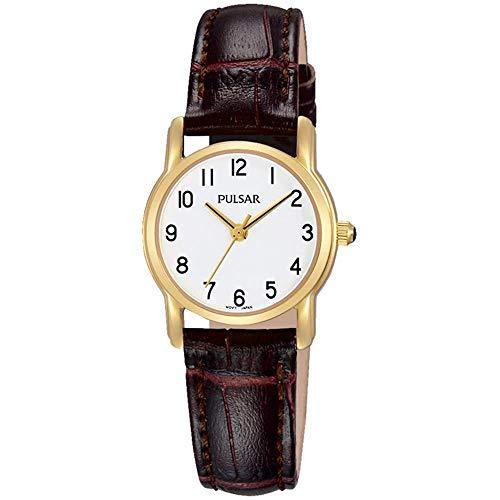 PULSAR Damen Analoger Quarz Uhr mit Echtes Leder Armband PH8262X1