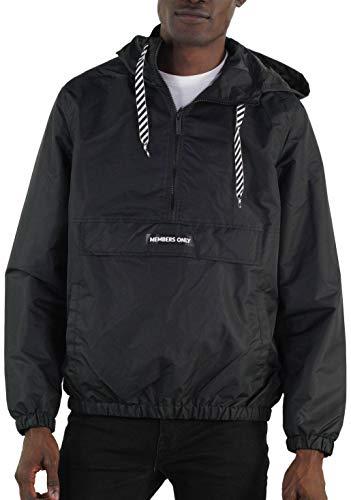 Members Only Men's Solid Pullover Half Zip Windbreaker Jacket (S, Black)
