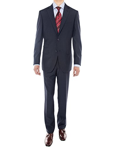 Luciano Natazzi Men's 160'S Worsted Wool Two Button Suit Jacket with pant Stripe (36 Regular US / 46R EU/W 30', Navy Blue)