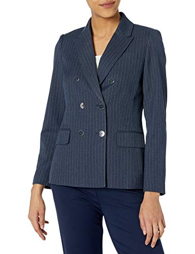 Tahari ASL Women's Petite Double Breasted Blazer with Patch Pockets, Navy White Pinstripe, 2P