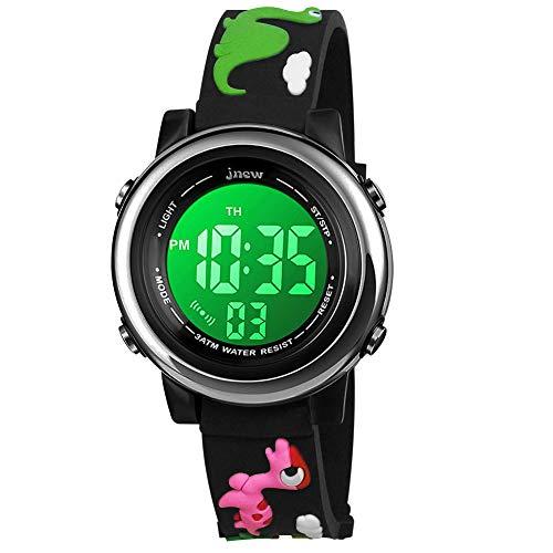 BIGMEDA Reloj Digital para Niños Niña, Luz Intermitente LED de 7 Colores Reloj de Pulsera Niña Multifunción, para Niños de 3 a 12 años (Dinosaurio)