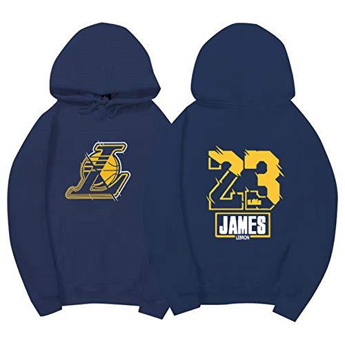 Laker James King - Sudadera con capucha 3D para hombre, otoño e invierno, diseño de número de pelota de equipo con logotipo de impresión digital, color azul marino-XXXL