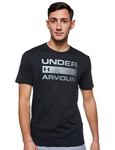 Under Armour UA TEAM ISSUE WORDMARK, atmungsaktives Sportshirt, kurzärmliges und komfortables Funktionsshirt mit loser Passform Herren, Black / Rhino Gray , L