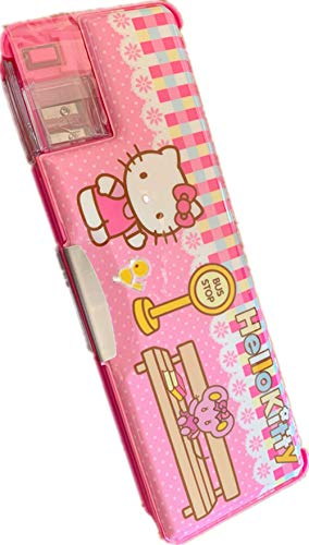 Hellokitty Pencil Case with Sharpener+Pen Cap Girl Two-Side Pen Holder Kid Stationery School (Pink)