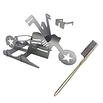 Beer Can Chicken Stand for Grill American Motorcycle BBQ Portable Chicken Holder Stainless Steel Beer Chicken Roaster Easy To Use And Clean Chicken Stand for Grill  Includes grill cleaning brush