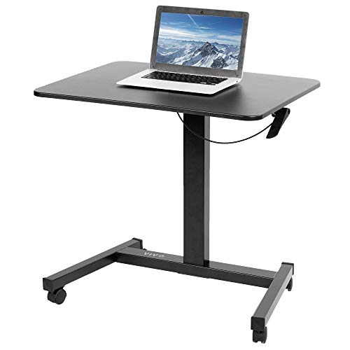 VIVO Mobile 32 inch Pneumatic Sit to Stand Laptop Desk, Rolling Presentation Cart, Height Adjustable Ergonomic Workstation with Locking Wheels, Black (CART-V07B)