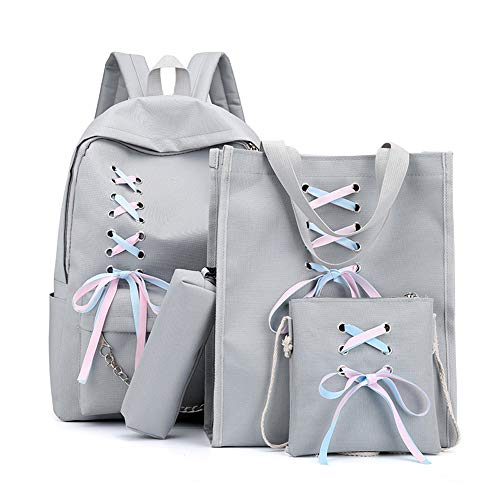 4 mochilas de lona de viaje mochilas de cinta para la escuela para niñas adolescentes