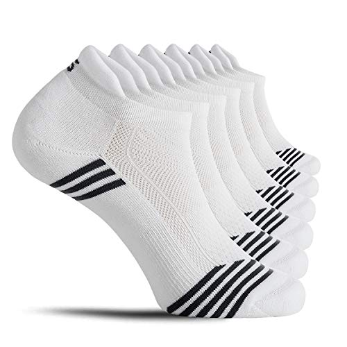 CelerSport No Show Tab Running Socks Low Cut Ankle Athletic Socks for Men and Women, White, Small(6 Pair Pack)