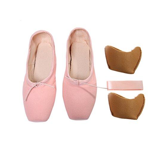 DoGeek Transpirable Pointe Zapatos de Ballet Pointe Ballet Zapatillas de Ballet de Danza Baile con Cintas y Toe Pads y Covert Elastic
