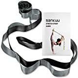 SANKUU Yoga Strap, Multi-Loop Strap, 12 Loops Yoga Stretch Strap, Nonelastic Stretch Strap for Physical Therapy, Pilates, Dance and Gymnastics with Carry Bag