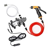 BANG4BUCK 12V Car Pressure Washer Kit, 100W 160PSI Portable High Flow Electric Intelligent Self-Priming Water Pump for Cleaning, Watering, Pets Showering