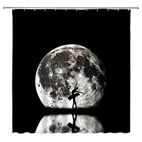 Vollmond-Duschvorhang, weißer Planeten-Nachtblick, schwarzer Hintergr&, Ballett-Mode, niedliche Mädchen-Silhouette, Badezimmer, Badewannen-Dekoration, Duschvorhang aus Polyester-Stoff mit Haken
