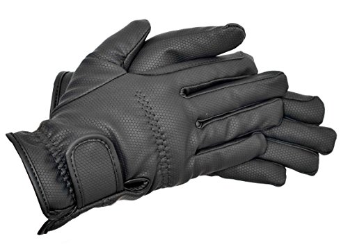 Riders Trend Embossed Synthetic PU Riding Gloves - Guantes de equitación, Color Negro, Talla M