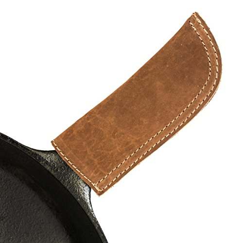 Hide amp Drink Leather Hot Handle Panhandle Potholder Double Layered Stitched Slides On/Off Easily onto Metal Grips Lodge Cookware Skillet Handmade :: Swayze Suede