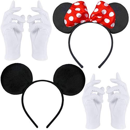 Doppelpack mit Maus Haarreifen | Maus Ohren mit roter Schleife und weißen Punkten + Maus Ohren in schwarz + 2 Paar weiße Handschuhe für Erwachsene