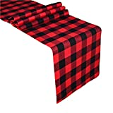 Senneny Buffalo Check Table Runner Cotton Red and Black Plaid Classic Stylish Design for Family Dinner Christmas Holiday Birthday Party Table Home Decoration (Red and Black, 14 x 72 Inch)