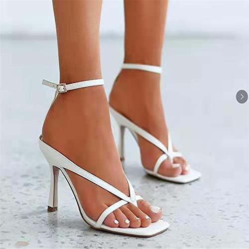 JUSTMAE Été Femmes Classiques Talons Hauts Sandales Femmes Sangle Sandales Blanches Dames Mode sans Lacet Sandales Talons Fins Sandales Sexy 2021