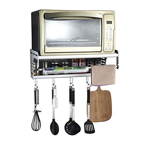 Halterung Mikrowellen Mit 10 Haken Und 2 Ablagen Mikrowellenhalter Ablage Halter Microwelle Regal Wand für Küche(Weiß)