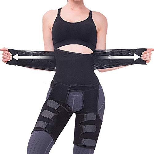 PBOX Sweat Band Waist Trainer for Women, 3-in-1 Waist and Thigh Trimmer Butt Lifter,Waist Trainer for Women Weight Loss Everyday Wear (Black, L-XL)